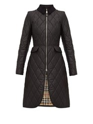 Burberry Ongar Vintage Check Lined Quilted Coat Black