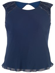 Chesca Lace Trim Chiffon Camisole Top Navy