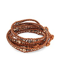 Chan Luu Faceted Crystal And Sterling Silver Leather Bracelet Rose Gold Brown