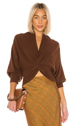 C Meo Collective As We Went Knit Blouse In Brown.
