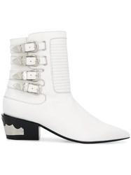 Toga Pulla Buckled Western Boots White