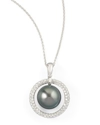 Gray South Sea Pearl And Diamond Halo Necklace 0.70Ct Eli Jewels Blue