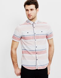 The Idle Man Short Sleeve Stripe Shirt Red