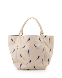 Deux Lux Bird Printed Large Tote Bag Ecru