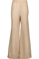 Zimmermann Mischief Herringbone Silk And Linen Blend Wide Leg Pants Ecru