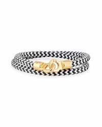 Brace Humanity Men's Double Tour Braided Wrap Bracelet Black White Golden