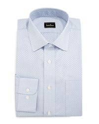 Neiman Marcus Classic Fit Regular Finish Square Pattern Dress Shirt Light Blue