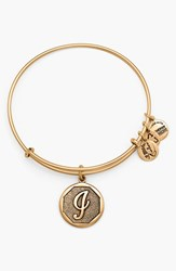 Women's Alex And Ani 'Initial' Adjustable Wire Bangle I Russian Gold