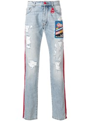 Gcds Contrast Side Panel Distressed Jeans With A Patch Detail Blue