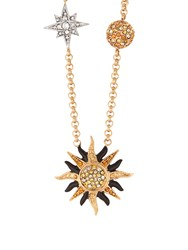 Roberto Cavalli Planet Charms Embellished Necklace Gold Multi