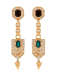 Mawi Drop Deco Crest Earrings Rose Gold