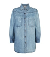 Sandrine Rose Slogan Back Denim Shirt Blue