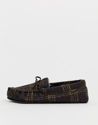 Totes Check Moccasin Slipper In Brown
