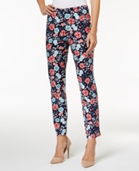 Charter Club Floral Print Ankle Pants Only At Macy's Intrepid Blue Combo