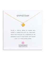 Dogeared Animal Lover Paw Heart Pendant Necklace Goldtone