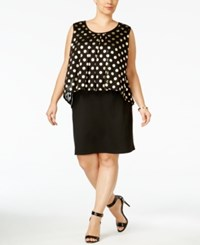 Ny Collection Plus Size Pleated Polka Dot Popover Dress