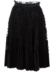 Alexander Mcqueen Pleated Lace Skirt Black
