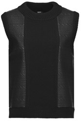 Raoul Faux Textured Leather And Stretch Knit Top Black