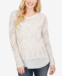 Lucky Brand Open Knit Contrast Sweater White Combo