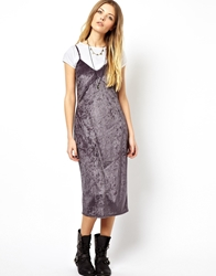 Asos Reclaimed Vintage 80S Slip Dress In Velvet Grey