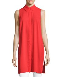 Joan Vass Spread Collar Button Front Tunic Red