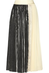 Noir Sachin And Babi Metallic Pleated Chiffon And Satin Maxi Skirt