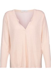 Sandro Ting Silk Trimmed Linen And Crepe Top Pastel Pink