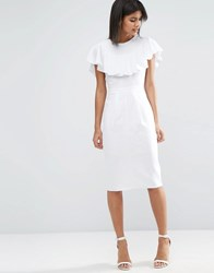 Asos Wiggle Dress In Linen With Frill Detail White