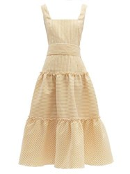 Luisa Beccaria Belted Tiered Linen Blend Midi Dress Yellow