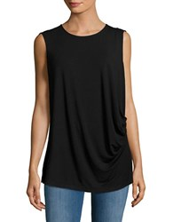Lord And Taylor Plus Roundneck Sleeveless Ruched Top Black