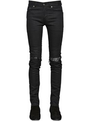 Saint Laurent 15Cm Studded Leather Patch Denim Jeans
