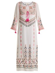 Figue Josefina Geometric Embroidered Silk Dress White Multi