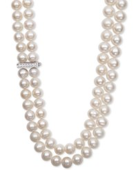 Belle De Mer White Cultured Freshwater Pearl 8 1 2Mm And Cubic Zirconia Double Strand Necklace