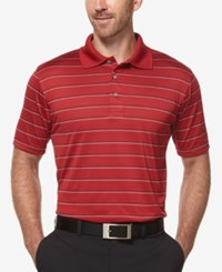 Pga Tour Performance Airflux Three Color Stripe Golf Polo Chili Pepper
