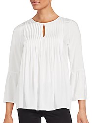Saks Fifth Avenue Red Solid Ruffled Top Black