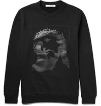 Givenchy Cuban Fit Printed Fleece Back Cotton Jersey Sweatshirt Black