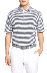Bobby Jones Men's Liquid Cotton Feed Stripe Polo White