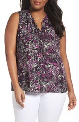 Sejour Plus Size Women's Tie Neck Shell Purple Print