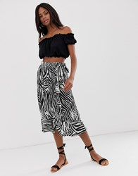 B.Young Zebra Print Bias Cut Midi Skirt Multi