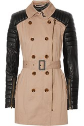 W118 By Walter Baker Keanu Quilted Faux Leather And Cotton Trench Coat Nude