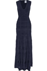 Herve Leger Miriam Bandage And Pointelle Gown Midnight Blue