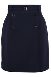 Alexander Mcqueen Belted Wool Wrap Mini Skirt Blue