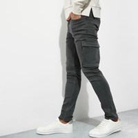 River Island Khaki Green Cargo Skinny Fit Trousers