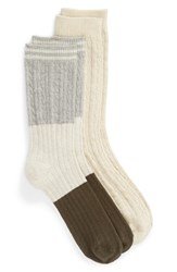 Treasure And Bond 2 Pack Mixed Texture Boot Socks Heather Grey Multi