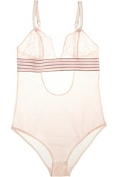 Stella Mccartney Millie Drawing Lace And Swiss Dot Tulle Bodysuit Pink