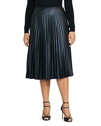 Ralph Lauren Plus Accordion Pleat Faux Leather Skirt Black