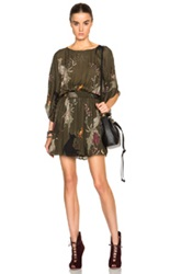 Haute Hippie Smock Dress In Green.Floral