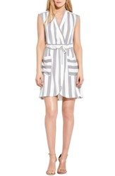Ayr The Bomb Stretch Silk Dress White Navy Stripe