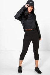 Boohoo Fold Over Waistband Basic 3 4 Leggings Black