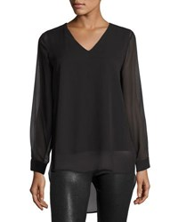 Vince Camuto Long Sleeve Chiffon Overlay Blouse Black